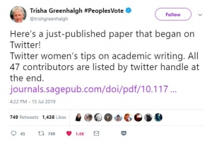 A tweet about writing an academic paper.