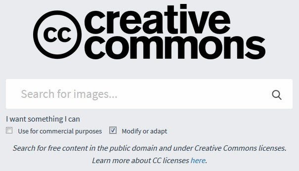 Screenshot showing creative commons search