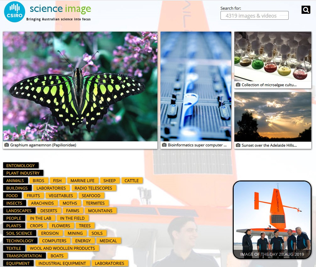 Screenshot of image search through science image